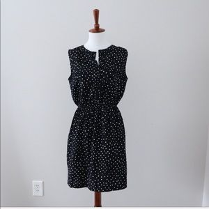 LOFT Black & White Sleeveless Polka Dot Dress